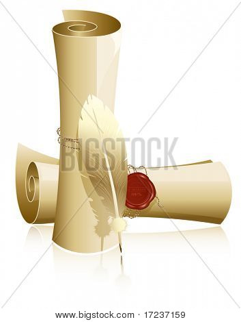 Vector illustration. Paper scroll with wax seal and feather