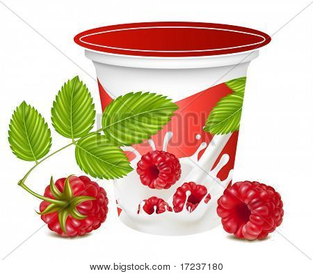 Vector illustration. Background for design of packing yoghurt with photo-realistic vector of raspberry.