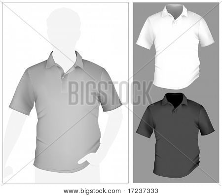 Vector. Men's polo shirt template with human body silhouette.