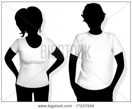 Women's and men's t-shirt template with human body silhouette.
