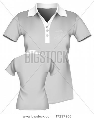 Vector illustration. Women's polo shirt template. Front and back. More clothing designs in my portfolio.