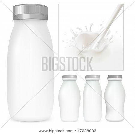 Vector set of blank milk and yoghurt packs. Milky splash