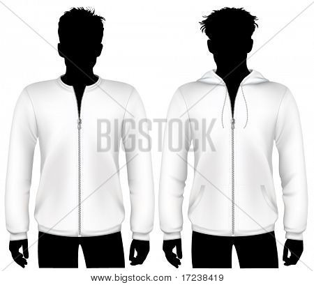 Vector. Hooded sweatshirt with zipper design template.