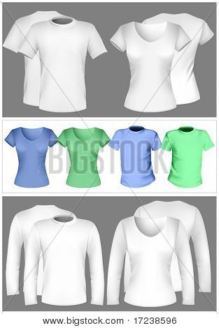 Vector illustration. T-shirt design template (men and women).