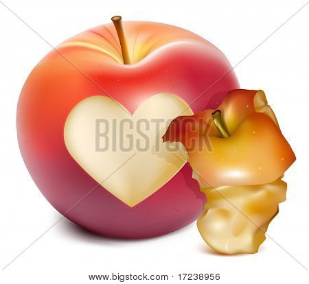 Vector red apple with a heart symbol and apple core