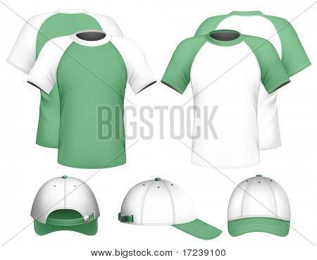 Vector illustration. Men's raglan t-shirt design template & baseball cap.