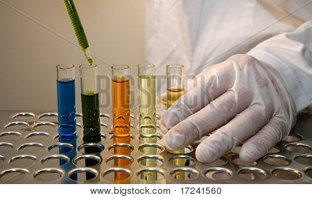 hands at work in the laboratory