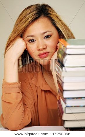 Chinese girl with books