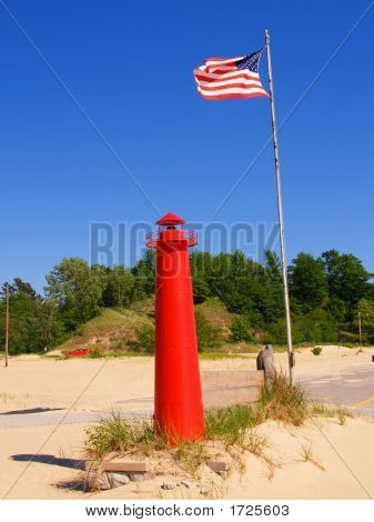Flag And Miniture Lighthouse