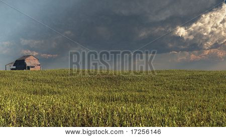Wheatfield and Barn with Approaching Storm