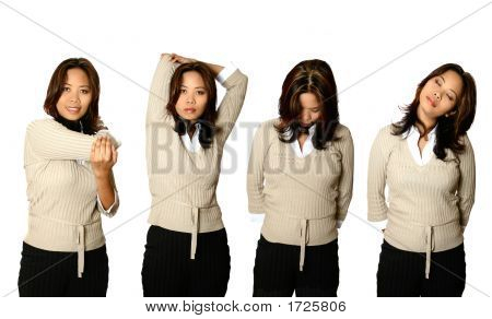 Female Office Worker In Several Stretching Poses