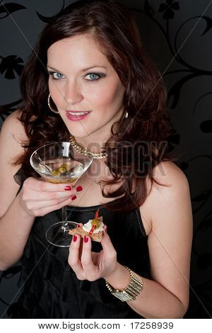 Cocktail Party Woman Champagne Appetizer
