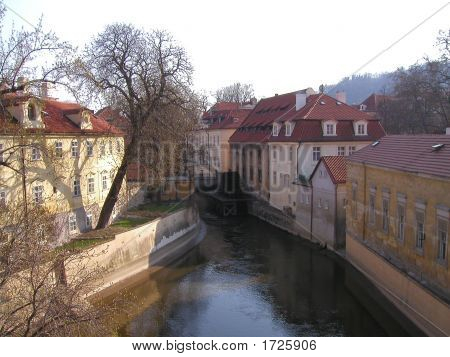 East European Town With Water Way