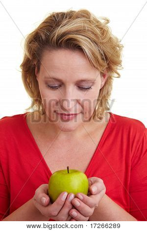 Woman Carrying An Apple