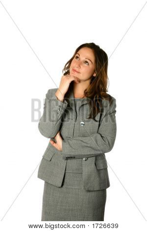 Business Woman Looking Up Thoughtfully