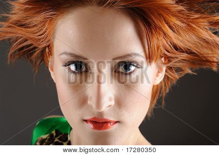 Beauty Portrait Of Pretty Woman With Healthy Red Flying Hair, Pure Skin And Natural Make-up. Copy-sp