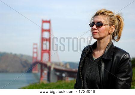 Woman By Golden Gate Bridge