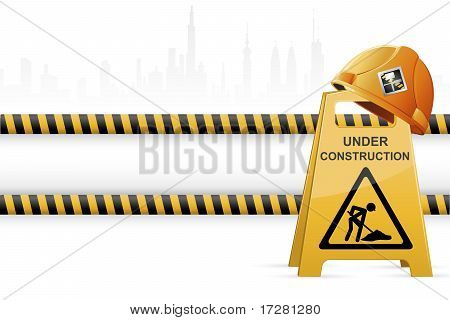 Hard hat on Under Construction Signboard