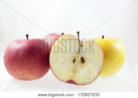 Group of ripe apples on white background