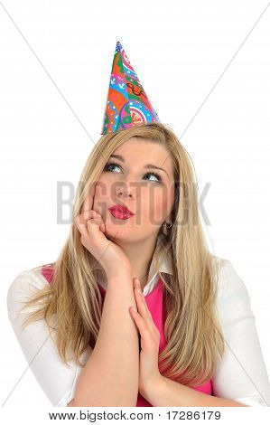 Pretty Party Female Celebrating Birthsday And Making A Wish. Isolated