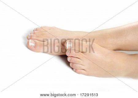Beautiful Feet Leg With Perfect French Spa Pedicure. White Background