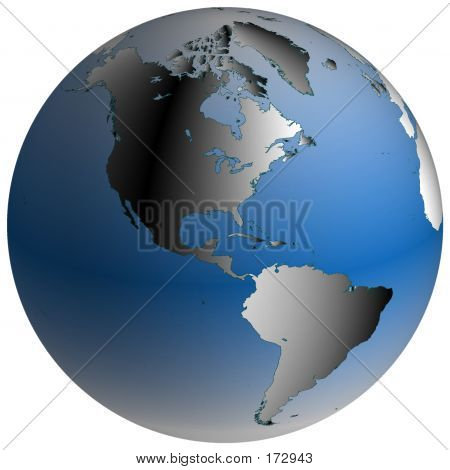 World Globe:america, With Blue-shaded Oceans