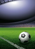 Football ball on the grass on the stadium with lights, vector illustration with copy space