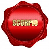 scorpio, 3D rendering, red wax stamp with text poster