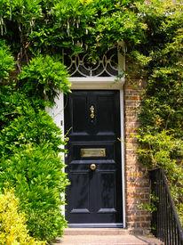 stock photo of front door  - Traditional English victorian front door - JPG