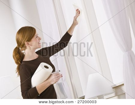 Attractive woman cleaning window holding paper towel. horizontal