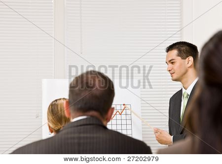 Businessman explaining chart