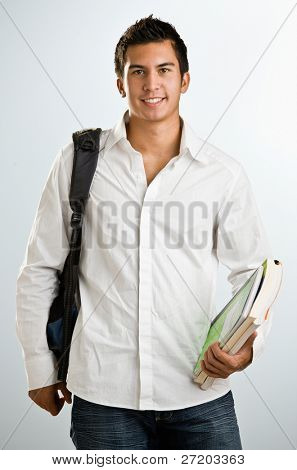 Man with backpack and schoolbooks