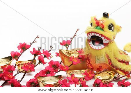 Chinese New Year Decorations--Traditional Dancing Lion,Gold Ingots and Plum Blossom.