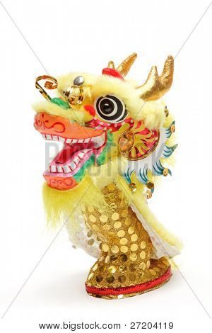 Chinese New Year Decoration--Closeup of Dancing Dragon on White.