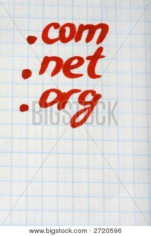 Dot Com Net Org Domain - Internet-Konzept