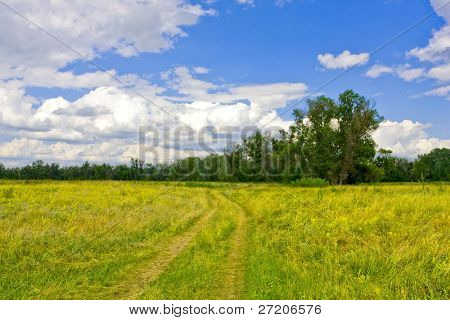 Rural road across steppe