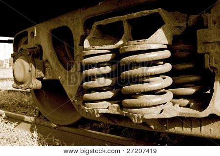 railway carriage details - wheel and springs