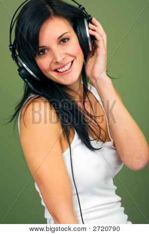 Young Women Listening Music