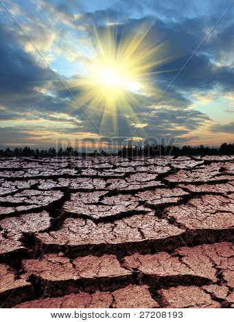 Sun over lifeless land