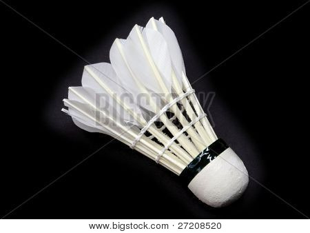 Shuttlecock isolated on black color