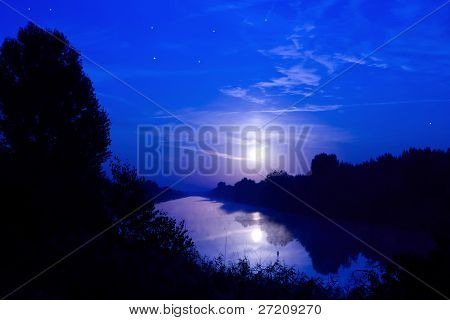 Night scene on river with moonshine