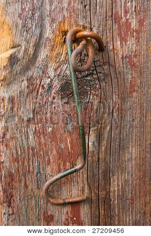 hook on old door background