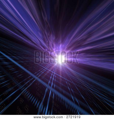 Horizon Perspective Over Light Grid