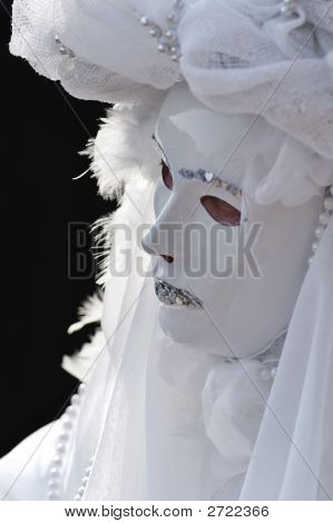 Black And White Venetian Mask Ondark Background