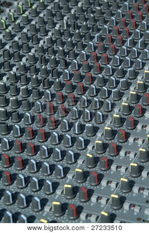 Knobs on a sound mixing desk