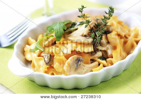 Bowtie pasta with mushrooms and cream sauce