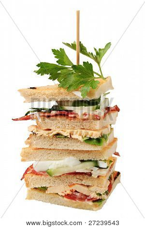 Sandwich quaters on a skewer (vegetable, roasted bacon, salami, chicken steak, boiler egg, lovage), single object