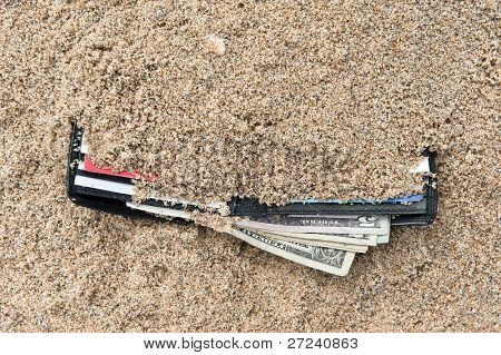 A lost wallet at the beach with cash and credit cards