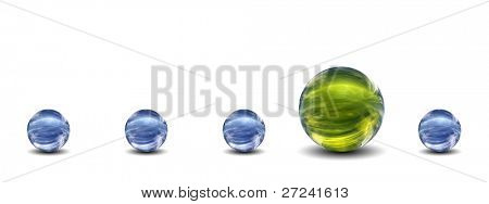 High resolution conceptual 3D row of spheres with one different standing out of the crowd, ideal for business, education or concept designs