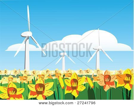 Wind turbines in a field of daffodils